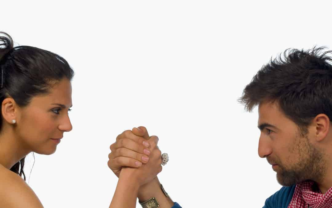 Marriage conflict with arm-wrestling spouses