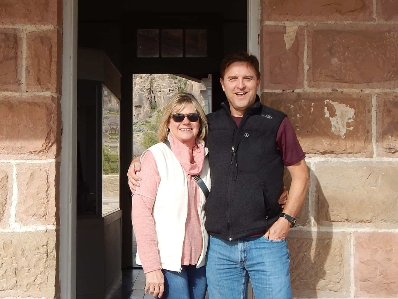 Rob and Lou Ann in doorway at Fort Davis Texas