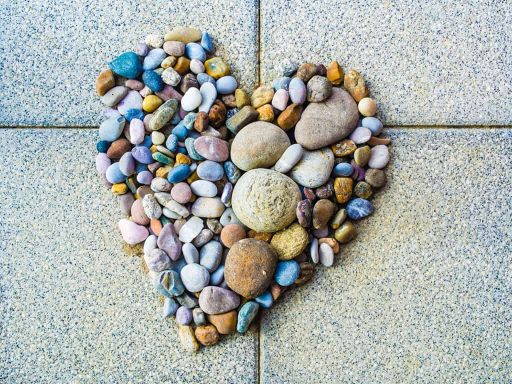 Colorful Rock in shape of a heart