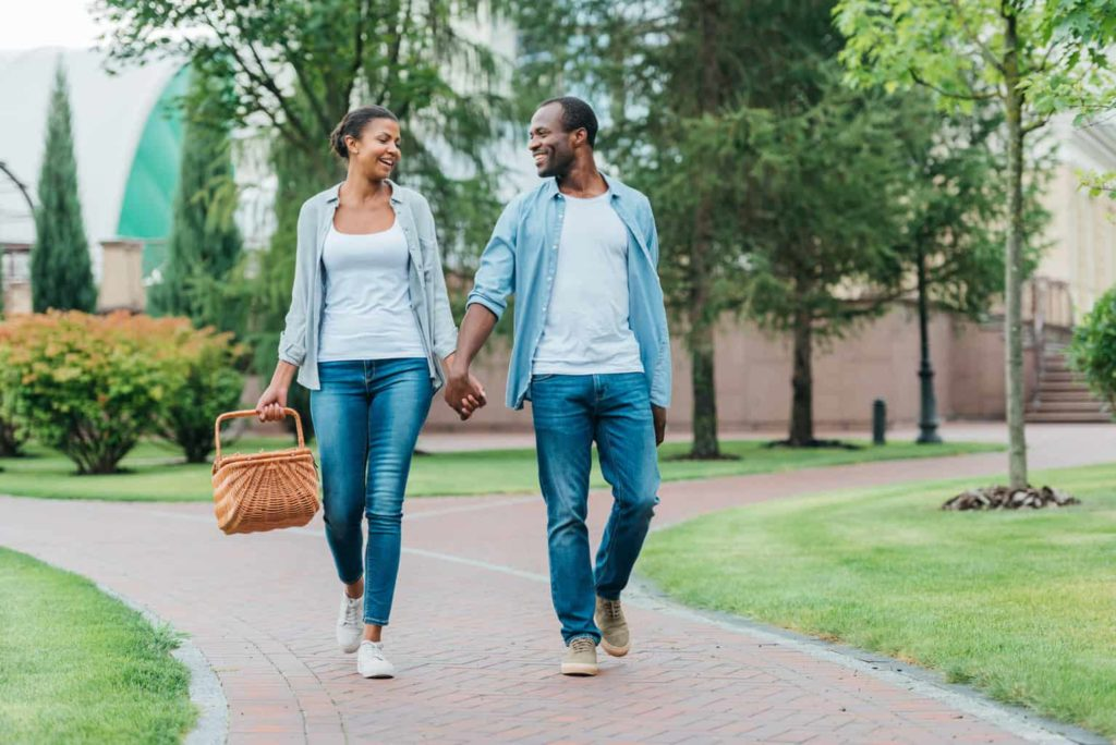 Couple connecting in marriage on walk